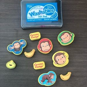 Lot of 10 Curious George Rubber Stamps w/ Ink Pad